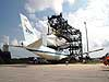 Discovery is preparing to be separated from the Shuttle Carrier Aircraft