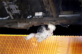 Mission Specialist Soichi Noguchi during spacewalk