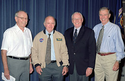 From left, X-15 pilots Robert White, Dana, Neil Armstrong, Joe Engle.