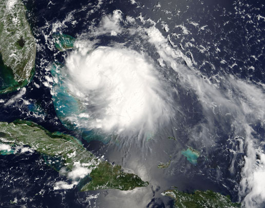 MODIS image of Tropical Storm Katrina closing in on Florida on August 24, 2005.