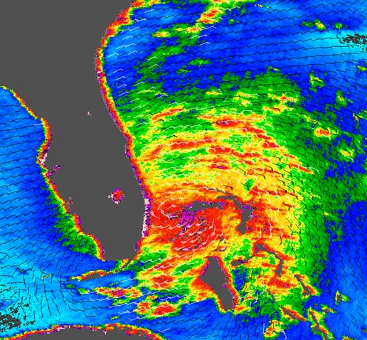 QuikSCAT image taken Aug. 25, 2005, of Tropical Storm Katrina as it nears Florida