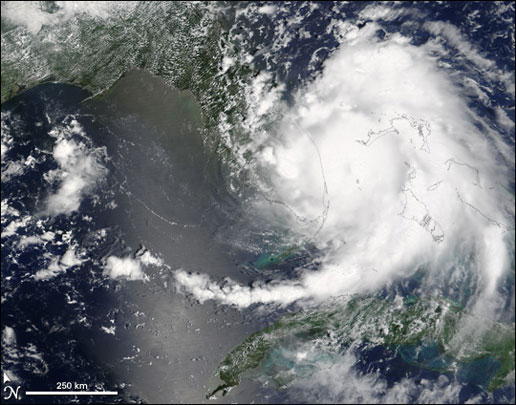 MODIS image of Hurricane Katrina over the state of Florida on August 25, 2005.