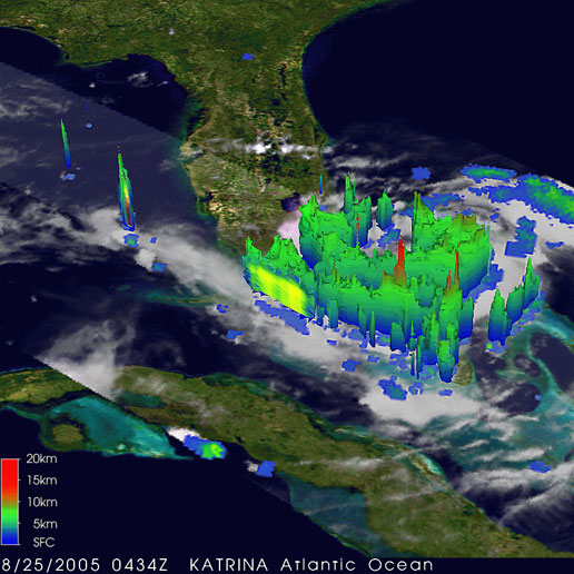 This image of Katrina was taken at the same time by TRMM and shows a 3D perspective ofKatrina.