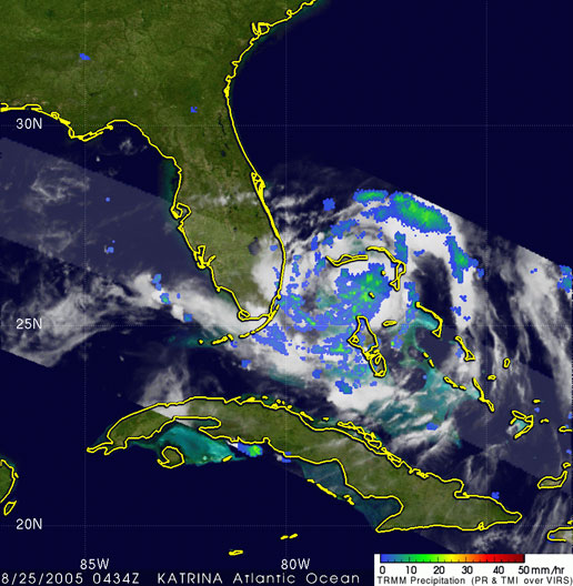 In this TRMM image of Katrina, the eye is visible along the western side of the central area of precipitation noted by the blue ring.  Most of the rainfall, however, is east of the center which is the green and blue area.