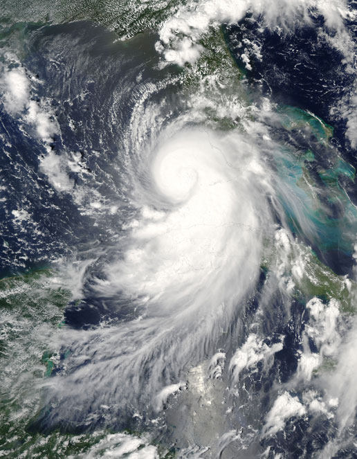 Hurricane Katrina image taken by the MODIS instrument on the Aqua satellite on August 26, 2005.