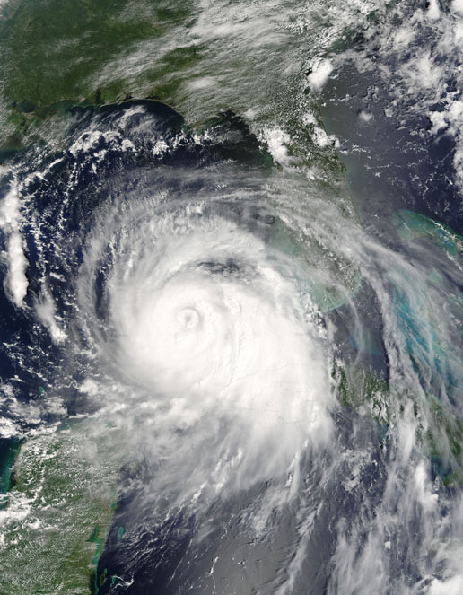 This Aqua satellite image of Katrina taken by the MODIS instrument on August 27, 2005 shows Katrina heading toward the Gulf states.