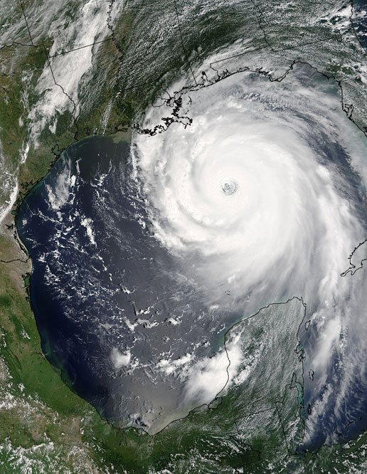 MODIS image of Hurricane Katrina taken on August 28, 2005.