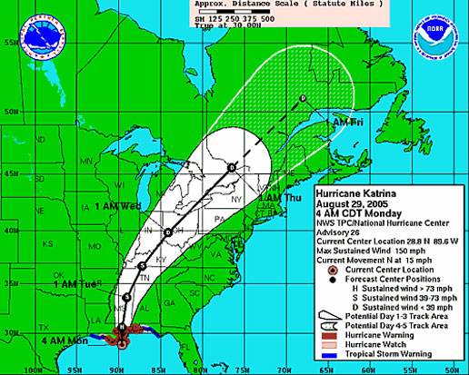 National Hurricane Center's map that predicts the track Hurricane Katrina will take.  This map is from August 28, 2005.