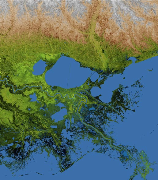 New Orleans and Mississippi delta region shown in this radar image from the Shuttle Radar Topography Mission
