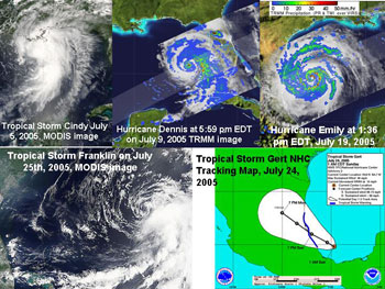 A collage showing all the storms for July 2005.