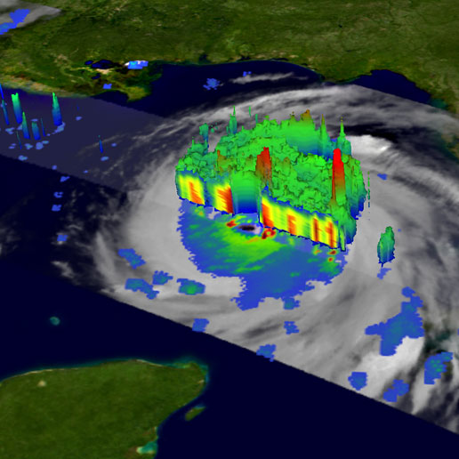 Image was taken on August 28 by TRMM shows a 3D perspective of Katrina with a cut away view through the eye of the storm.