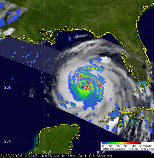 Image of Hurricane Katrina taken by TRMM on August 28, 2005.