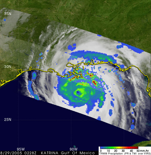 Image of Hurricane Katrina taken by TRMM on August 29, 2005.