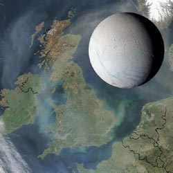 artist's concept showing Enceladus above United Kingdom, showing moon to scale