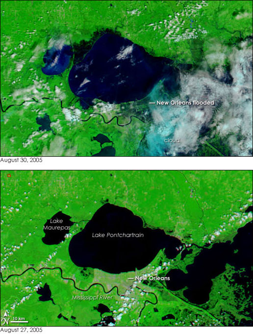 Terra's MODIS instrument captured these before and after images of Lake Pontchartrain near New Orleans on August 27 and August 30.