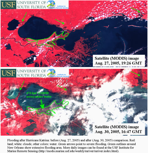 The first image shows the same area before Katrina hit, showing red throughout New Orleans. The second image was captured on August 31, 2005, showing large areas of New Orleans and the adjacent Gulf Coast inundated with water.