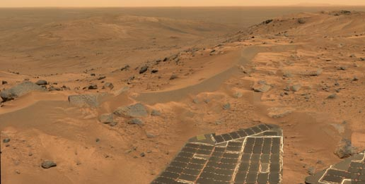 mini panorama taken by Spirit just as rover finally completed climb up Husband Hill