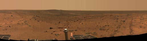 approximate true-color panorama taken by Spirit once it reached top of Husband Hill