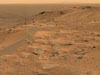 Panorama of the windswept plateau taken by NASA's Spirit rover atop Husband Hill