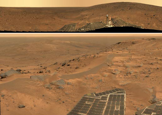 Top Image: Panorama acquired on July 6-13, 2005, from a near the summit of Husband Hill. Bottom Image: Panorama taken on August 23, 2005, after the rover completed its climb up Husband Hill.