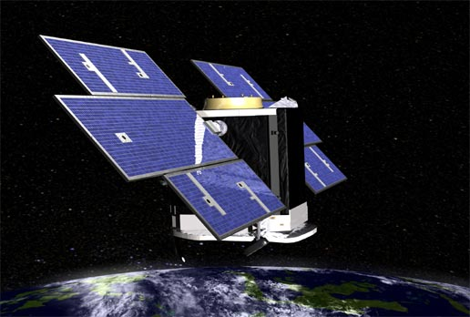 artist's concept of CloudSat above Earth