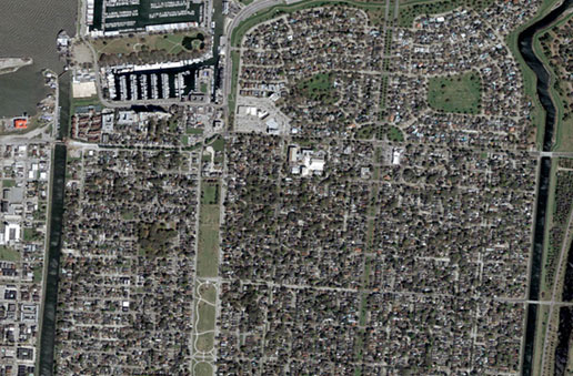 This satellite image was taken of New Orleans on March 4, 2004.