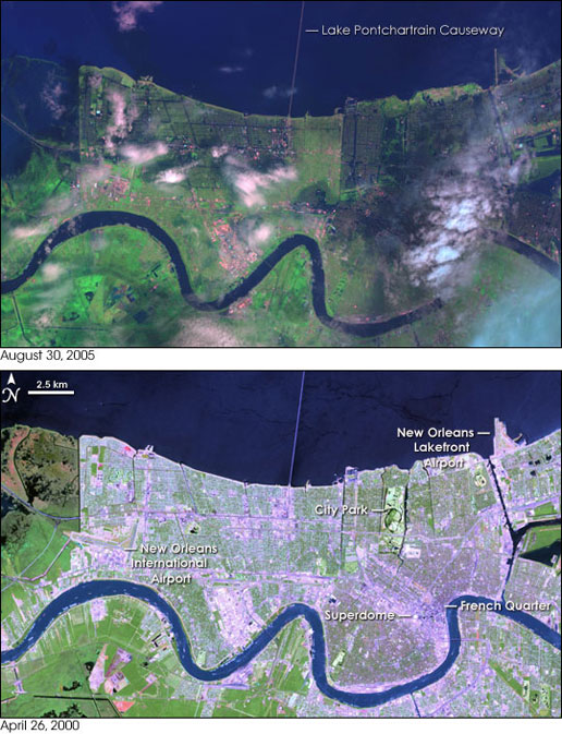 This satellite image shows New Orleans and the surrounding suburbs after the flooding on August 30, 2005.