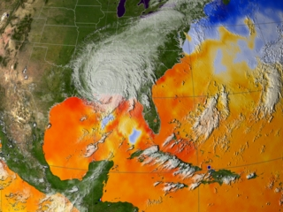 Still from animation of sea surface temperatures surrounding Katrina.