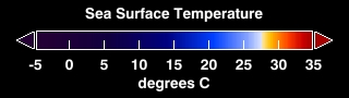Color bar for sea surface temperatures.