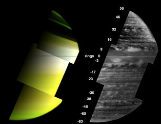 two views of Saturn's clouds from Cassini's visual infrared mapping spectrometer
