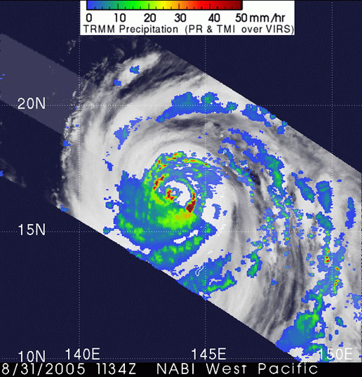 TRMM image of Super Typhoon Nabi on August 31, 2005.
