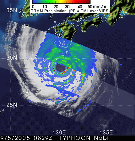 TRMM image of Super Typhoon Nabi on September 5, 2005.