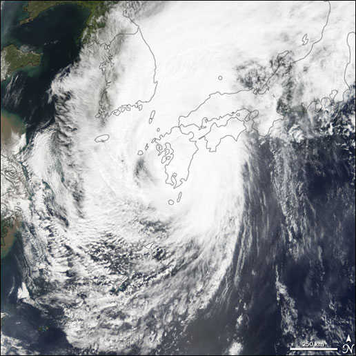 The MODIS instrument on the Terra satellite captured this image of Super Typhoon Nabi on September 6, 2005.