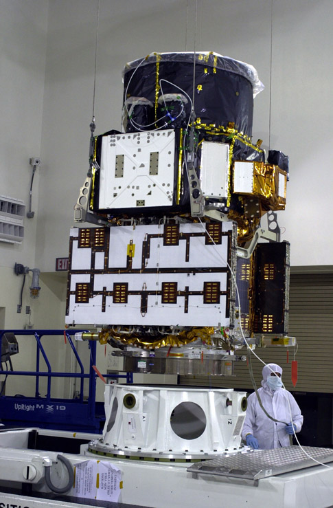 image of CALIPSO satellite under vertical hoist