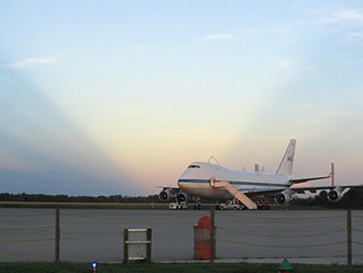 Sunrise at the Shuttle Landing Facility, where the SCA waits to depart
