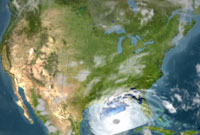 Still from animation of TRMM's pass over Hurricane Katrina.