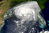 Still of Hurricane Katrina's progression.