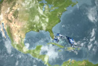 Still from animation of Hurricane Katrina as seen by TRMM on August 25.