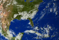 Still from animation showing the rainfall accumulation from Hurricane Katrina.
