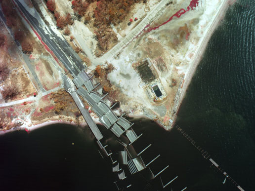 Color Infrared image of destroyed bridge on the east side of Biloxi, Miss.