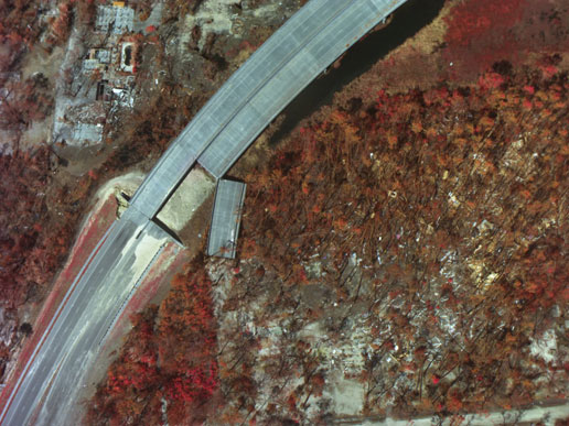 Color Infrared image of a section of highway displaced by the storm surge near Gulfport, Miss.