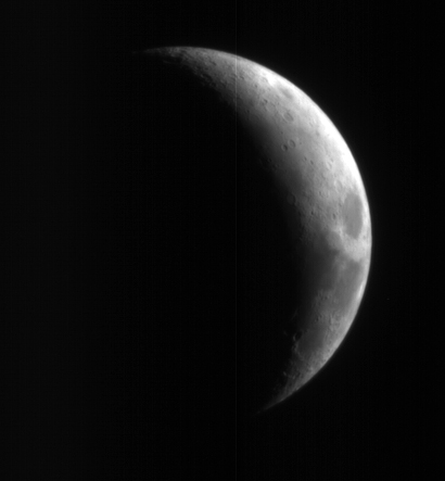 This crescent view of Earth's Moon in red wavelengths comes from a camera test by NASA's Mars Reconnaissance Orbiter spacecraft on its way to Mars.