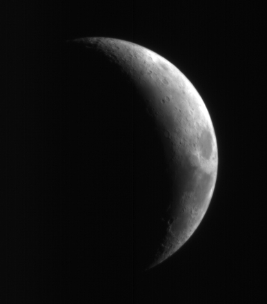 This crescent view of Earth's Moon in infrared wavelengths comes from a camera test by NASA's Mars Reconnaissance Orbiter spacecraft on its way to Mars.