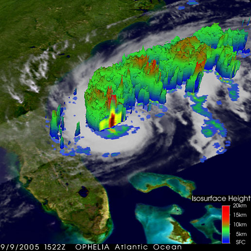 TRMM image of Ophelia showing the height of the precipitation columns within Ophelia on September 9, 2005.