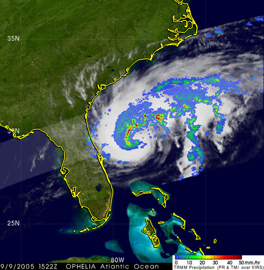 TRMM image of Ophelia on September 9, 2005.