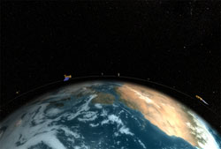 Still from animation showing the train of satellites both Cloudsat and CALIPSO.