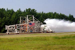 The Aircraft Landing Dynamics Facility carriage rumbles down its track