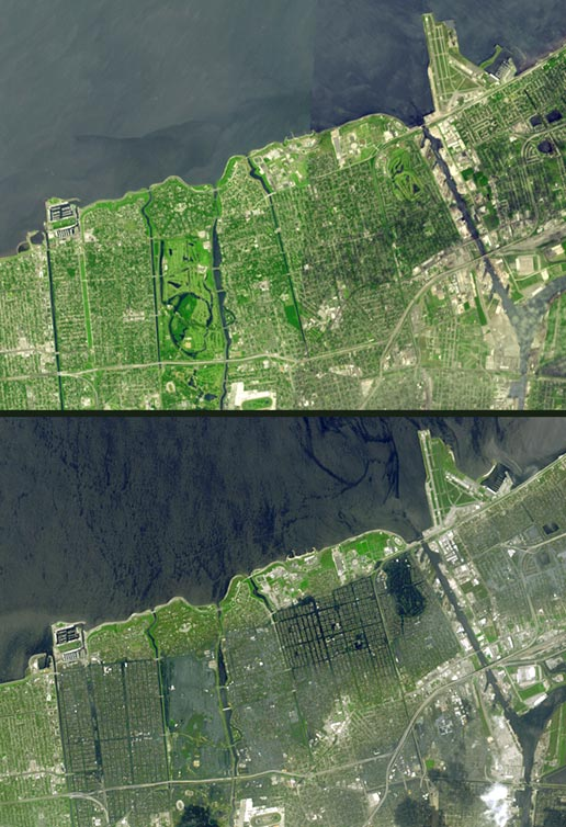 ASTER image of New Orleans seventeen days after Katrina.