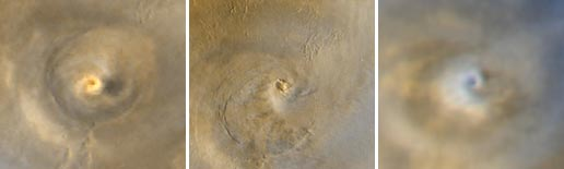 Left: Arsia Mons spiral cloud in 2001 at Ls 180