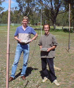 scientists pose with Radio Jove receivers